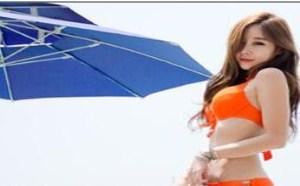 美女翘臀:性感长腿模特橙红比基尼耀眼魅惑